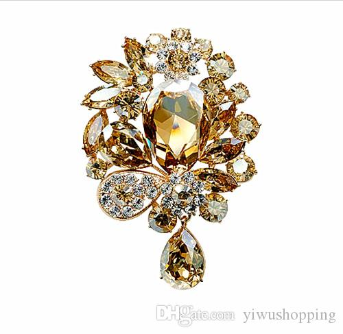 ! Gold Plated 3 Inch Large Champagne Crystal Rhinestone Sparkly Luxury Bridal Pin Brooch for Wedding