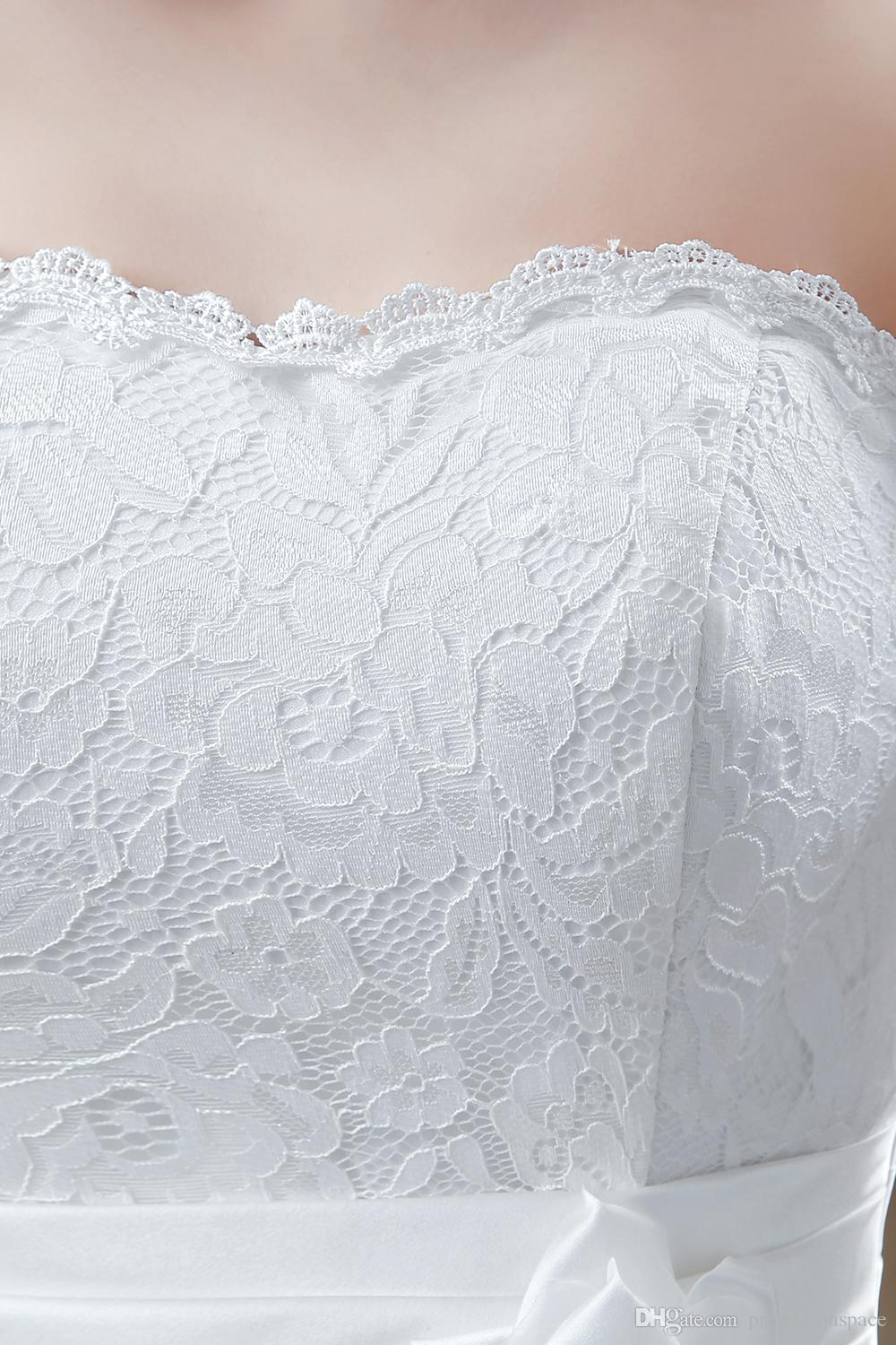 2016 Lace Short Wedding Dresses Strapless A Line Sexy Back with Handmade Flower Ankle Length Summer Beach Cheap Bridal Gowns CPS240