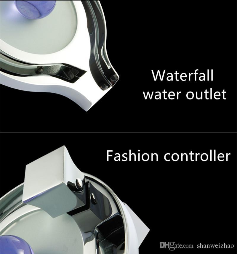 갑판 마운트 욕실 싱크 브래스 크롬 수력 주도 빛 분지 꼭지 현대 샤워 전환기 수도꼭지