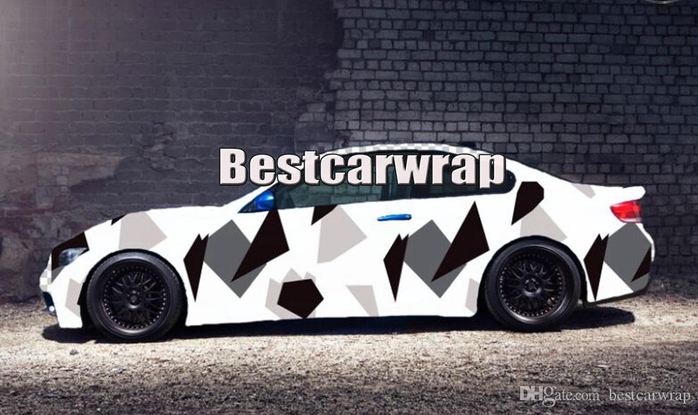 Large balck white Pixel Camoulfage vinyl car wrapping film arctic Camo Film for Vehicle covering styling with Air Free size 1.52x30m/5x98ft
