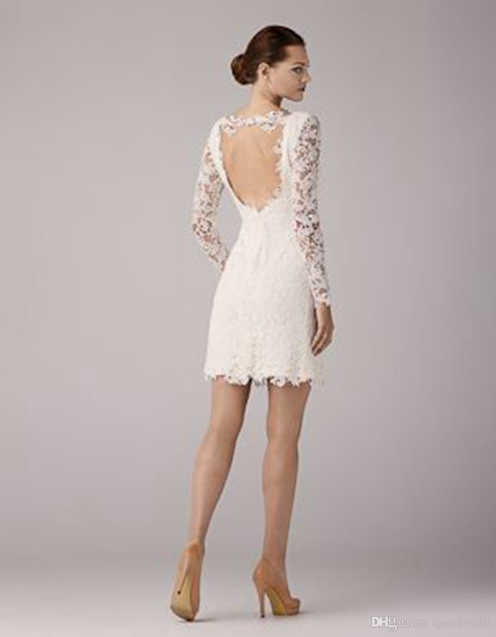 2015 vestido de novia de primavera y verano del cortocircuito del  cordón con las mangas largas