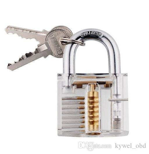 Wespire Transparent Lock Padlock Supplies Professional Locksmith Trainer Tools Cutaway Practice Training Extractor Tool
