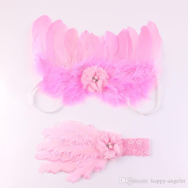 baby big Curly feathers Chiffon flower Lace Headband Angel Wing little fairytale costume Photo Prop hair band hair accessories YM6132