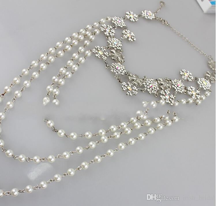 وصول جديد فريد من نوعه تصميم مجوهرات الكتف سلسلة حجر الراين بلورات الزفاف مجوهرات الزفاف مجموعة اللباس الملحقات TS000064