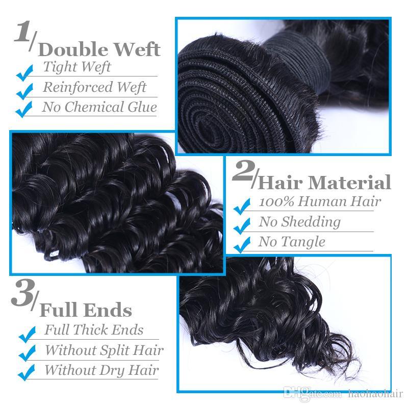 Capelli vigin brasiliani 3 bundund deepwave 8-30 pollici peruviano dei capelli umani loosewave tessuto non trattato accettare personalizzato estensione dei capelli umani