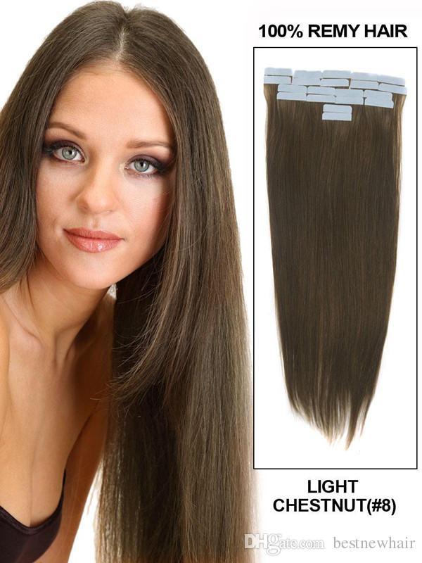 الشريط على الجلد 4CM العرض 10 '' - 26 '' 2.5g / pc / 100g مستقيم الشعر الهندي الجلد لحمة الشريط ريمي في / على ملحقات الشعر البشري