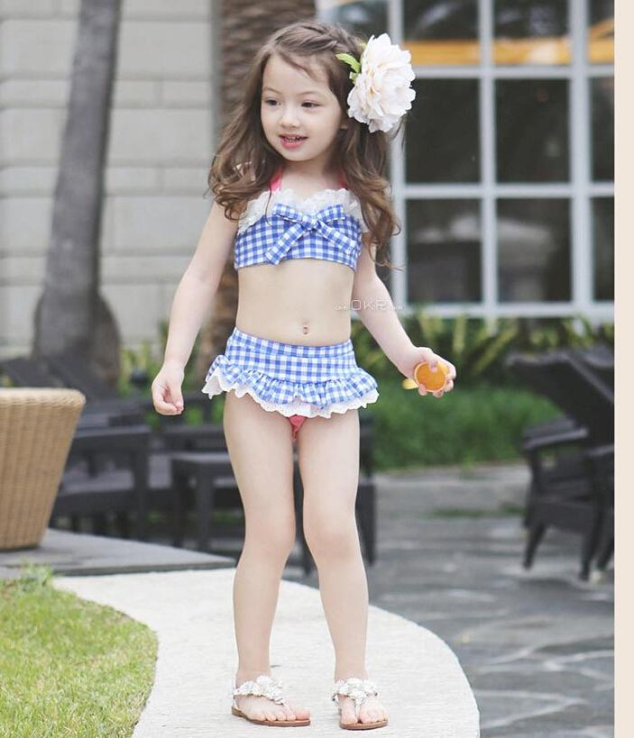 5fbc6f5c0db New 2015 Summer Girls Swimwear Plaid Bikini Kids Two-piece Bathing Suit  Short Skirt Children Swimsuit 5 Different Size Online with  65.58 Set on  Novocanto s ...