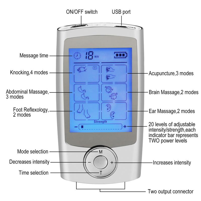 16 Modos Eletrônico Pulse Massager Alívio Da Dor DEZENAS Unidade Máquina Estimulador Muscular Electro Terapia Massagem Corporal Dispositivo
