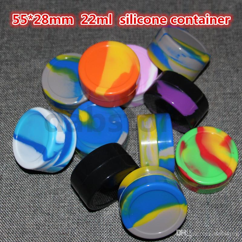 Contenitori della cera del concentrato della cera dei contenitori del contenitore 22ml 55 * 28mm dell'olio del silicone della cera del silicone Trasporto libero del DHL all'ingrosso