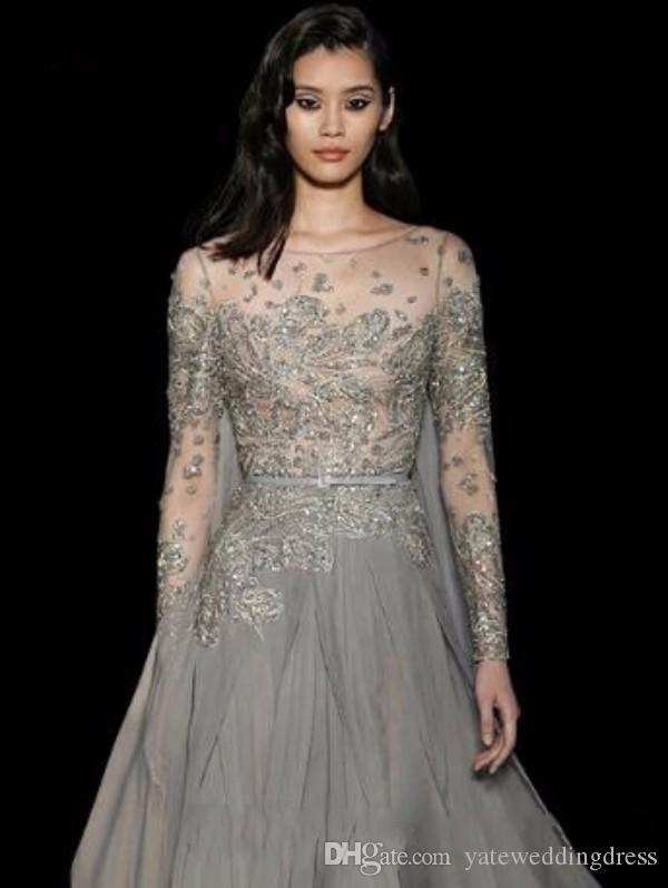 Elie Saab Sexyエレガントなビーズイブニングドレス2017刺繍パーティーイブニングガウンカスタムメイド長袖フォーマルドレス