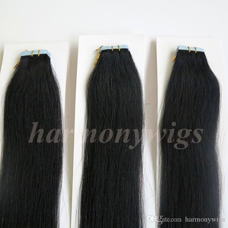 50g 20 adet Tutkal Cilt Atkı Bandı Saç Uzantıları brezilyalı Hint İnsan saç 18 20 22 24 inç # 1 / Jet Siyah