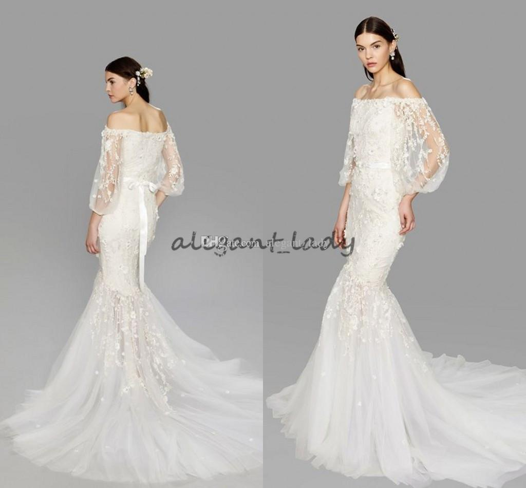 Discount Marchesa Mermaid Wedding Dresses With Sleeves 2018 Modest Off  Shoulder Lace Floral Sweep Train Garden Castle Trumpet Wedding Gowns  Wedding Dresses ... 5015dda658d6