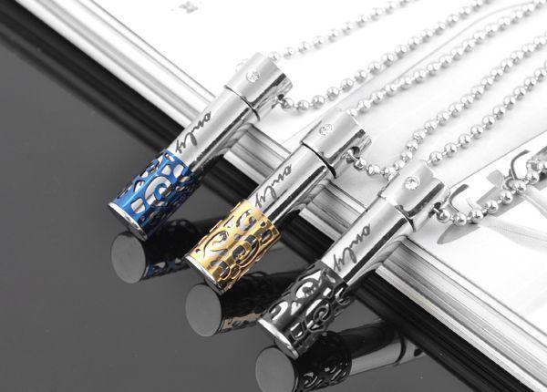 恋人の文字のロケットのネックレスのステンレス鋼のurnカプセルのネックレスピルシリンダーケース火葬カップルアッシュペンダント記念チェーン愛好家ジュエリー