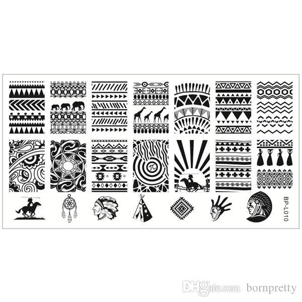 Aztec Pattern Nail Art Stamp Template Image Plate Born Pretty Bp L01 ...