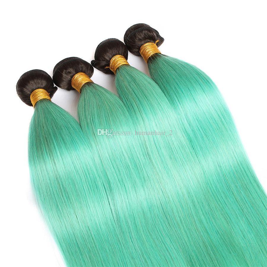 Green Ombre Hair Bundles avec fermeture en dentelle deux tons 1b vert fermeture droite avec faisceaux péruvienne Virgin Hair Extensions /