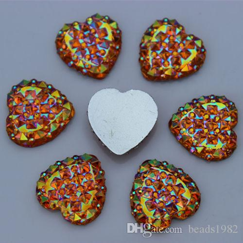 14mm Crystal AB Color Resin Rhinestones Heart flatback Beads ZZ192