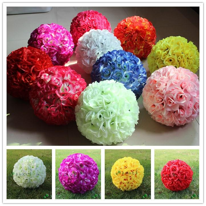 Online Cheap Wedding Centerpieces Silk Rose Kissing Ball For Bride ...