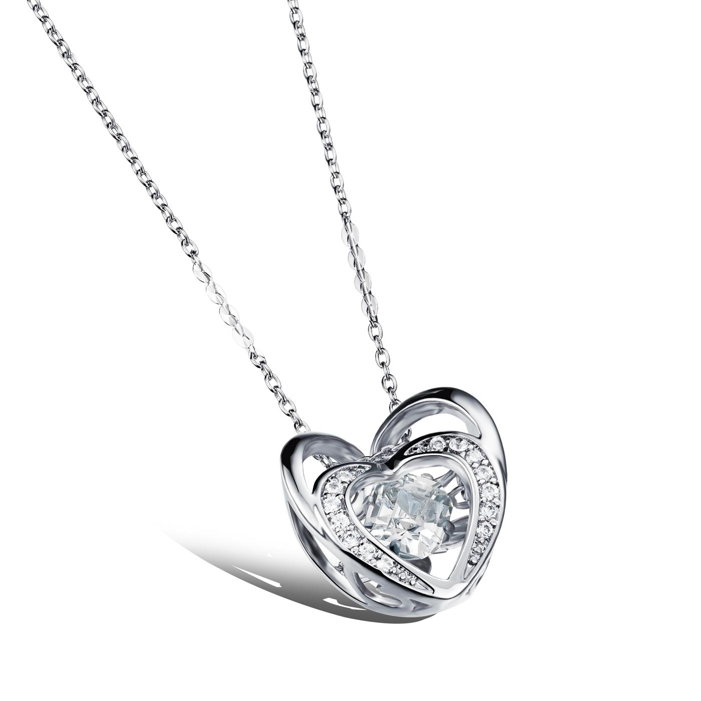 Floating Dancing Crystal Zirconia Stone Double Heart Frame Pendant ...