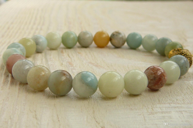 SN0244 Buddha Amazoniet Armband Meditatie Stretch Bracelet Yoga Sieraden Healing Boeddhistische armband Gift voor haar gratis verzending