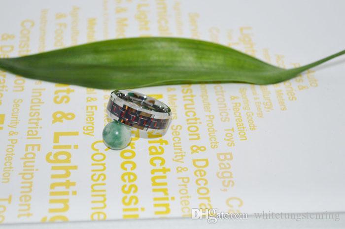패션 쥬얼리 텅스텐 링 톤 남성 약혼 반지를위한 두 개의 톤 탄소 섬유 웨딩 밴드