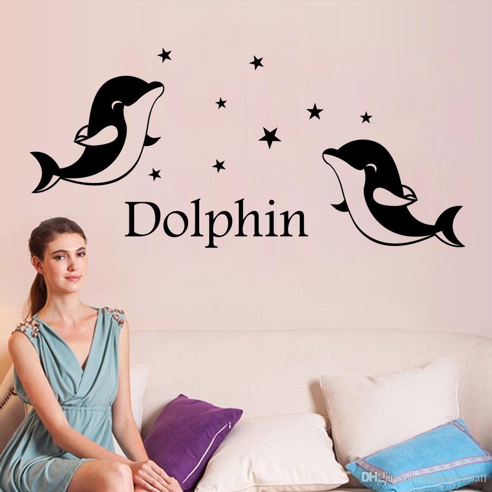 Bonito Dolphin Wall Art Decaly Sticker Kids Room Berçário Decoração Decoração Quarto Fotomural Poster Decor
