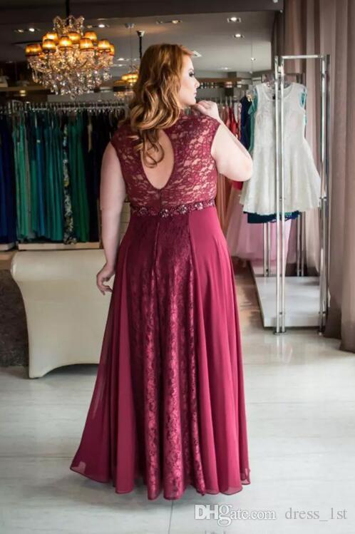 2018 Dark Red Lace And Chiffon Plus Size Prom Dresses Long V Neck Cut Out Back Beaded Sash Formal Dresses Party Evening EN112415