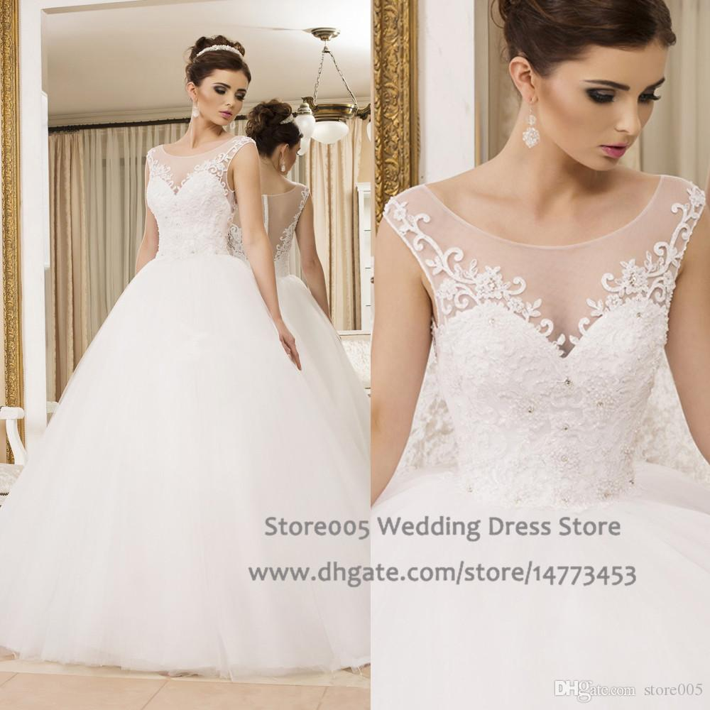 Princess Wedding Dresses Scoop Lace White Ball Gown Plus Size Engagement Bridal  Dress Tulle Beads Backless Vestidos Novia 2015 W3400 Wedding Ball Gown ...