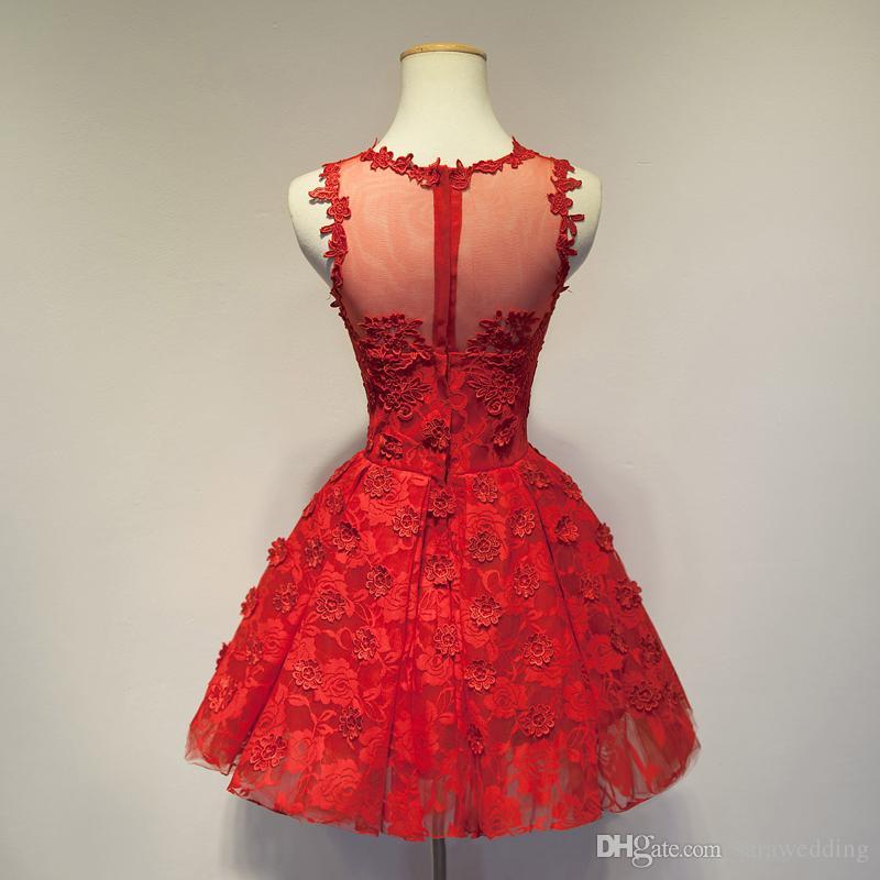 Новое кружевное коктейльное платье с цветочками ручной работы 2016 года Красное шампанское Короткое вечернее платье Элегантный
