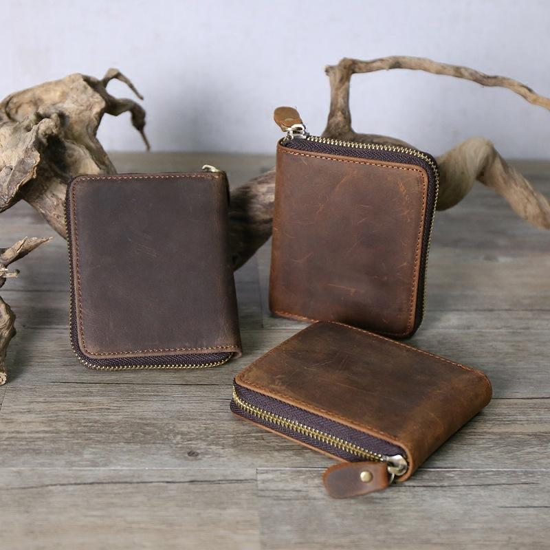 fd751c62bce9 Man Genuine Leather Wallet Zipper Coin Bag Zero Purse Crazy Horsehide Head  Layer Cowhide Restore Ancient Ways Doka Position Crossbody Purses Purse  Organizer ...