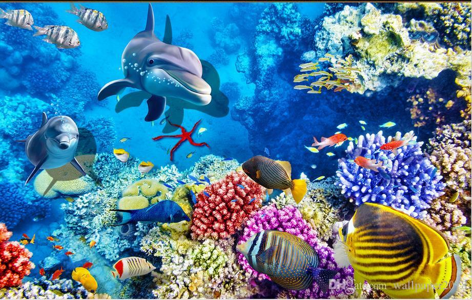 Painting Pvc Wallpaper Sea Fish Dolphin Coral 3d Floor Tiles Painted For Kids Room Designer Desk Top From