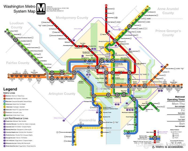 Washington Dc Subway Map Usa City Vie Art Posters Prints Wall - Washington dc map usa