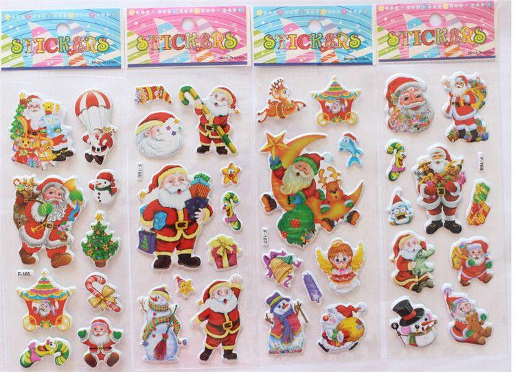 2015 hot sale Christmas 3D Cartoon Sticker Santa Claus Wall Stickers Christmas Tree Snowman gift Paster Kindergarten Reward for kids