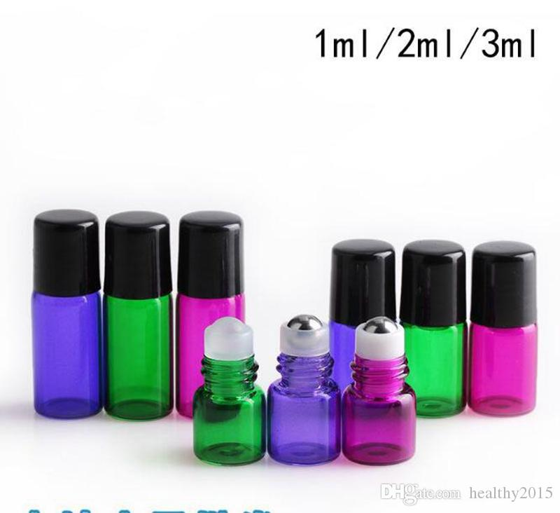 Colorful 1ml 2ml 3ml ROLL ON GLASS ESSENTIAL OIL BOTTLE Perfume Stainless Steel Roller Ball fragrance bottle Hot Sale USA UK