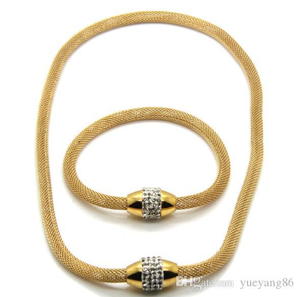 Heißer Verkauf Stil Gold Schmuck Set Edelstahl Magnetische Kristalle Mesh Kette Armband Halskette Halskette 45 cm Armband 19 cm