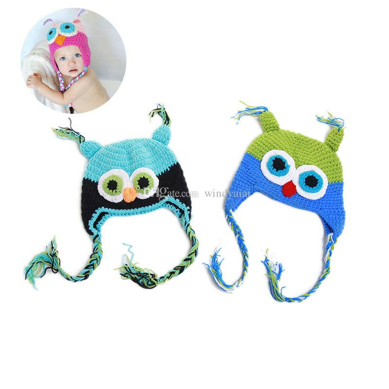 Hot sales Baby hand knitting owls hat Knitted hat Children's Caps crochet hats for kids