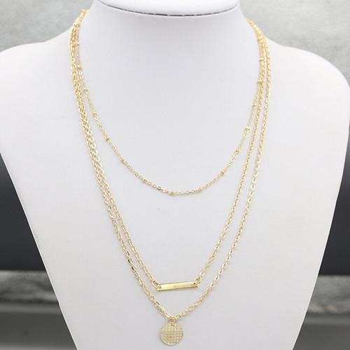 Necklaces For Women Fashion Brief Gold Plated Geometric Sequin 3-layer Chains Chokers Clavicle Chain Necklace Jewelry Wholesale SN577