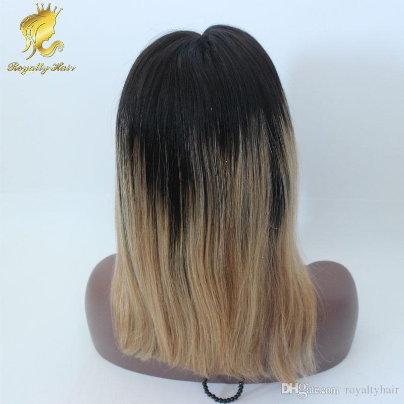 Frente cheia do laço perucas com cabelo do bebê mongol omber 1b27 rendas frente curto bob peruca de cabelo humano ombre 27 parte do meio cabelo humano