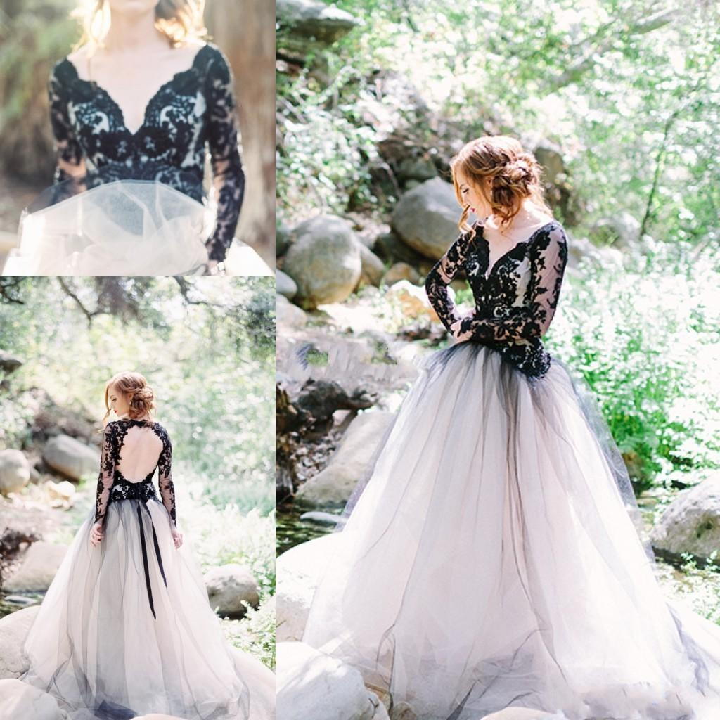 Discount Moody Beauty Gothic Black Lace Wedding Dresses With Long ...