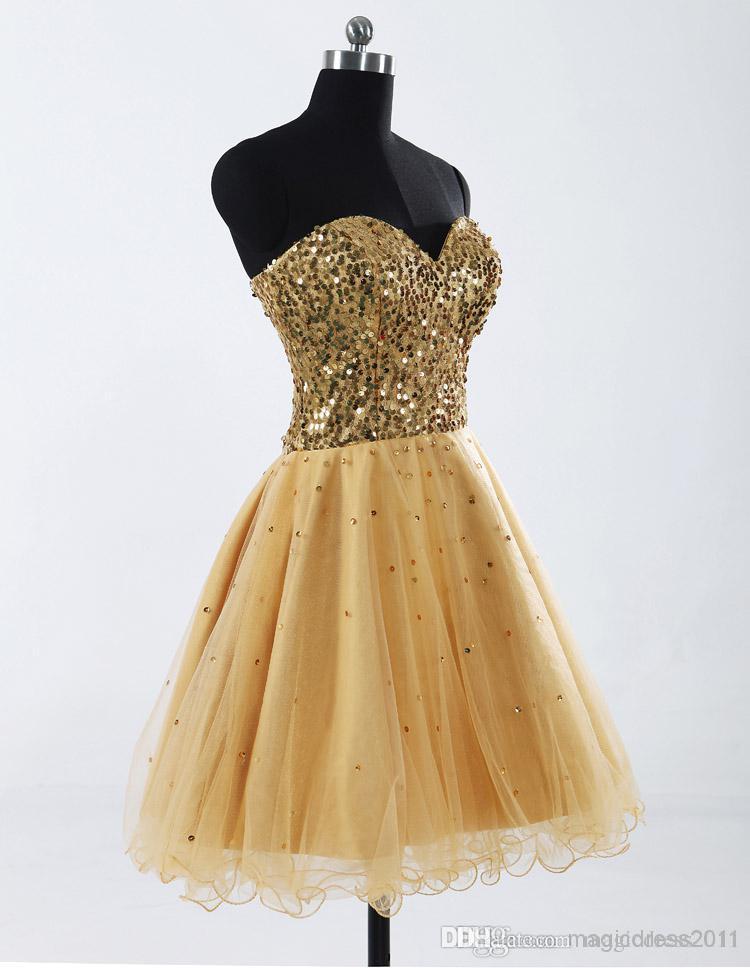 Barato 2019 En Stock Gold Sexy Sweetheart Tulle A-Line Lentejuelas Mini Short Homecoming Vestidos Vestido de graduación 08-030