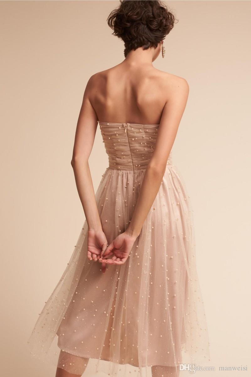 Cheap Short Pearls Bridesmaids Dresses Sexy Backless Strapless Neckline Maid Of Honor Dress Tulle A Line Wedding Formal Gowns