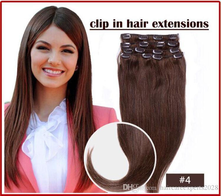 الجملة elibess-- 140g تعيين 4 # البني الداكن 16 بوصة-- 26 بوصة كامل رئيس جودة عالية البرازيلي شعرة الإنسان في الشعر في امتداد موجة موجة
