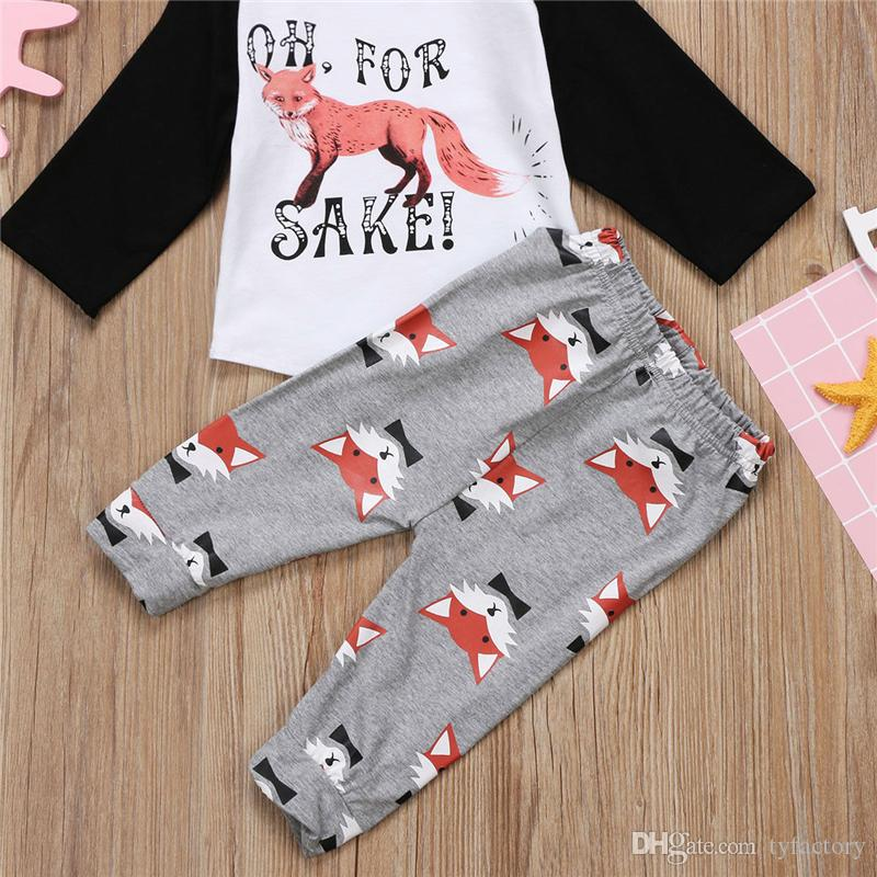 Newborn Baby Boys Girls Outfits Animals Fox Top +Pants Leggings Children Clothing Toddler Long Sleeve Boutique Kid Clothes 0-2Y