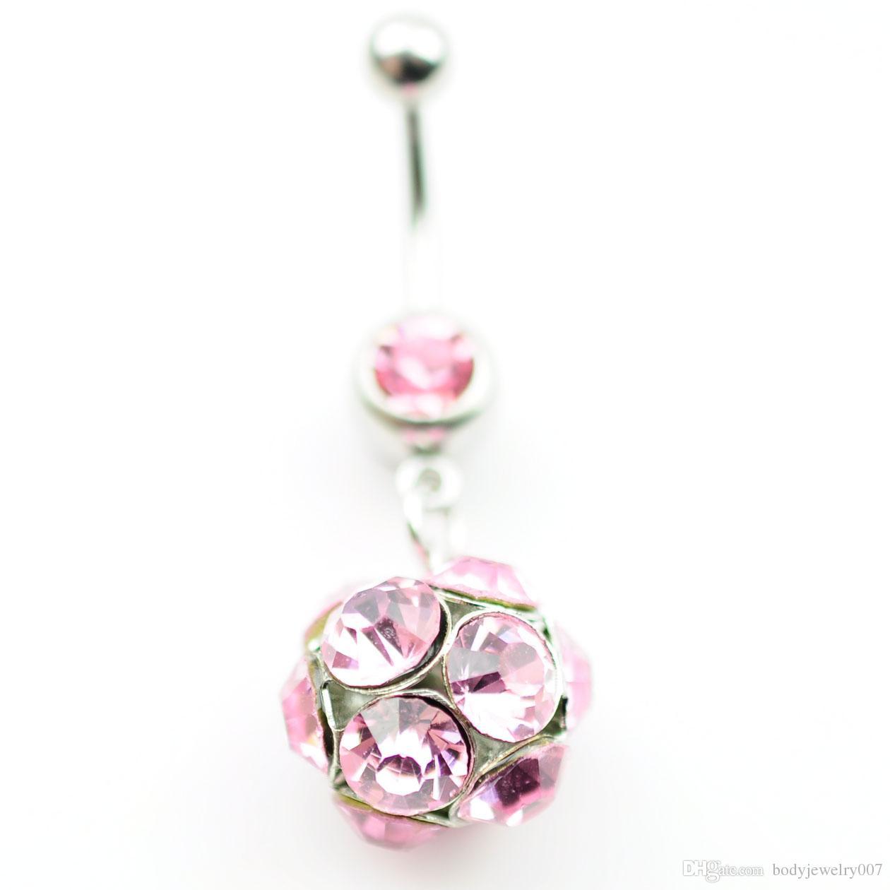D0153 3 renk Göbek Düğme Göbek Yüzükler Piercing Takı Dangle Moda Charm Güzel CZ Taş Çelik 10 Ad /