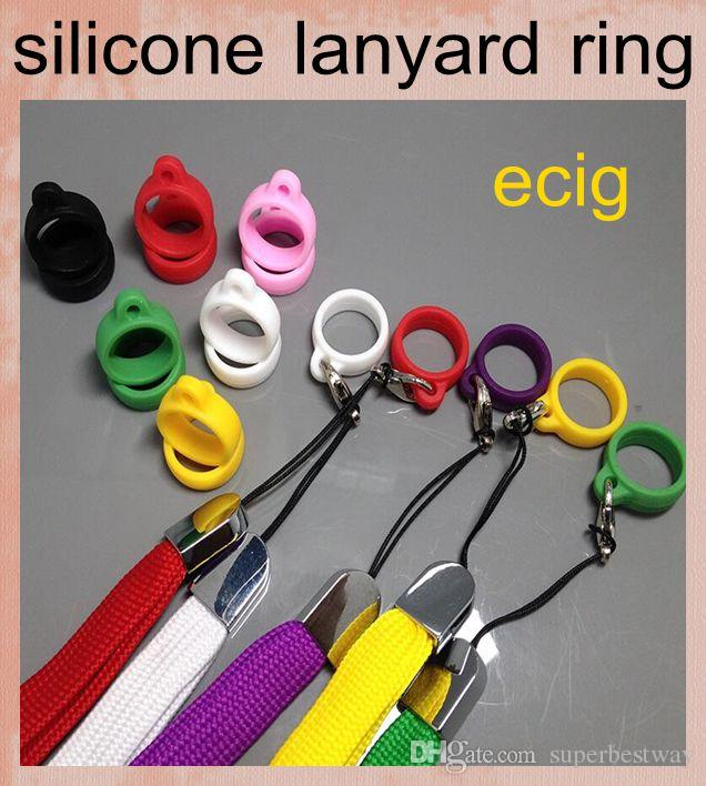 ecig silicone lanyard ego silicone necklace ring e cigarette lanyard ring for ecigs starter kit ego battery ce atomizer FJ048