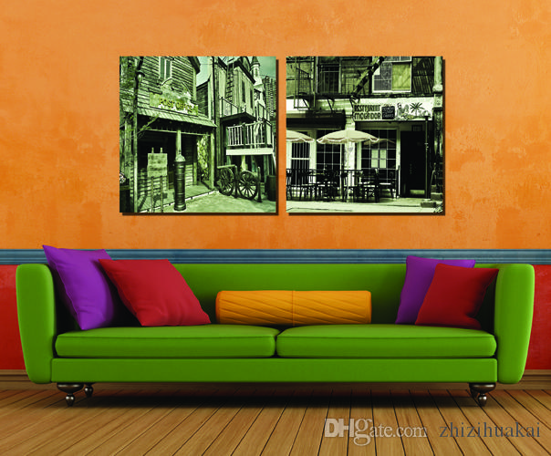 Painting Art Picture Paint on Canvas Prints Old house Steam train automobile red lantern White House Old world map