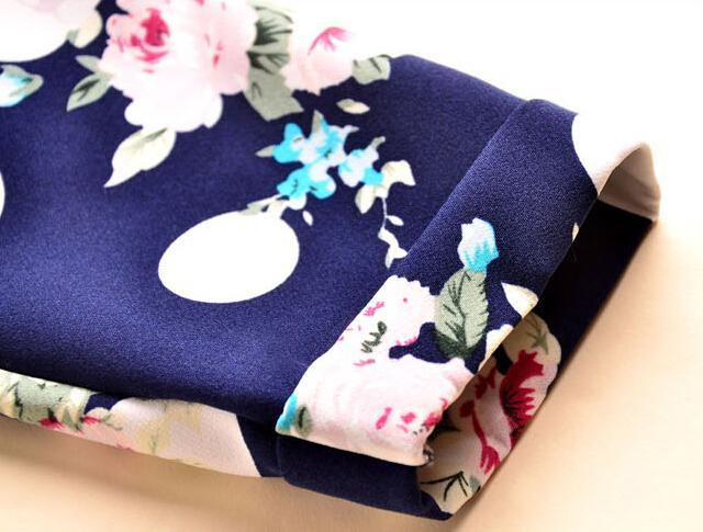 2016 Spring Fall New Fashion Floral Dot Print Chiffon Blouse Shirts Casual Elegant Womens Clothing Plus Size 4XL Tops Blouses for Women