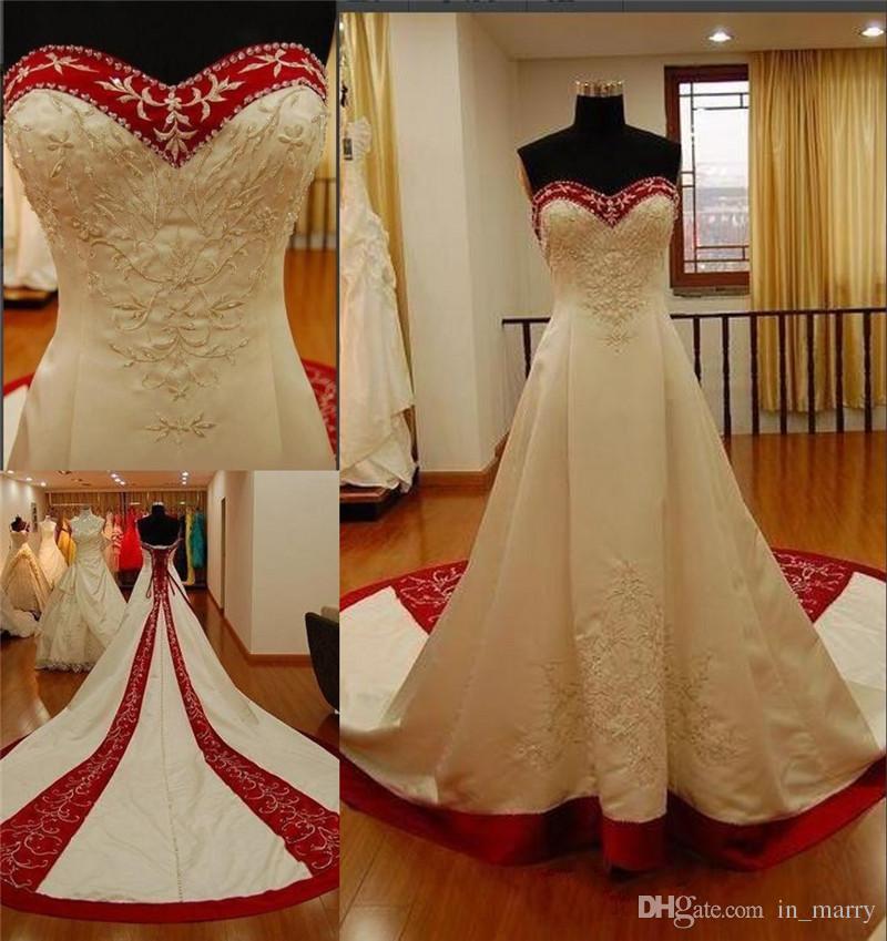 Vestidos de novia blanco y rojo