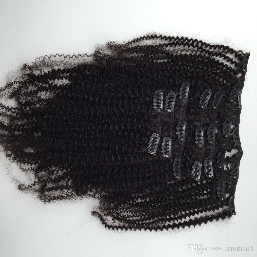البرازيلية غريب مجعد عذراء الشعر غير المجهزة الإنسان نسج الشعر كليب في الشعر 8-24 بوصة الطبيعي الأسود 7 قطع