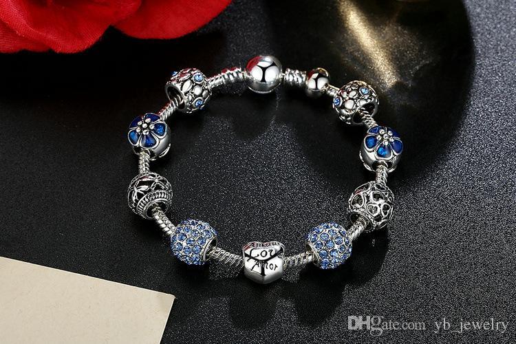 Горячий стиль прекрасный Тибетский серебряные бусины браслет Pandora подвески стеклянные бусины DIY бисером пряди браслет розовый белый синий зеленый 4 цвета опционально