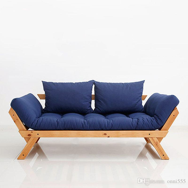 2018 Modern Simple Japanese Style Solid Wood Foldable Sofa Bed Double Three  Person Fabric Sofa With Back Cushions Burlywood Color Frame F04w4 From  Onni555, ...